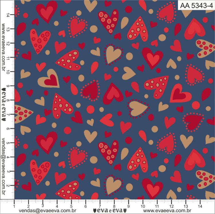 Tecido tricoline estampada da Eva e Eva - Coleção Amor Amour Amore Love - AA5343-4