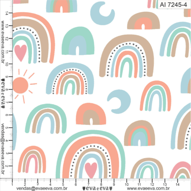 Tecido tricoline estampada da Eva e Eva - Coleção Arco Íris - AI7245-4