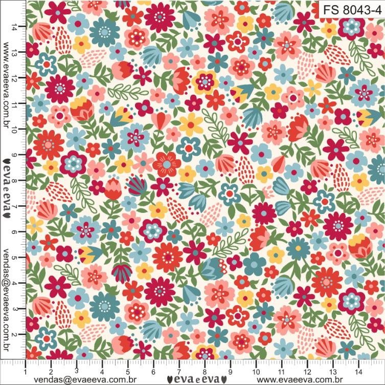 Tecido tricoline estampada da Eva e Eva - Coleção Flores da Esperança - FS8043-4