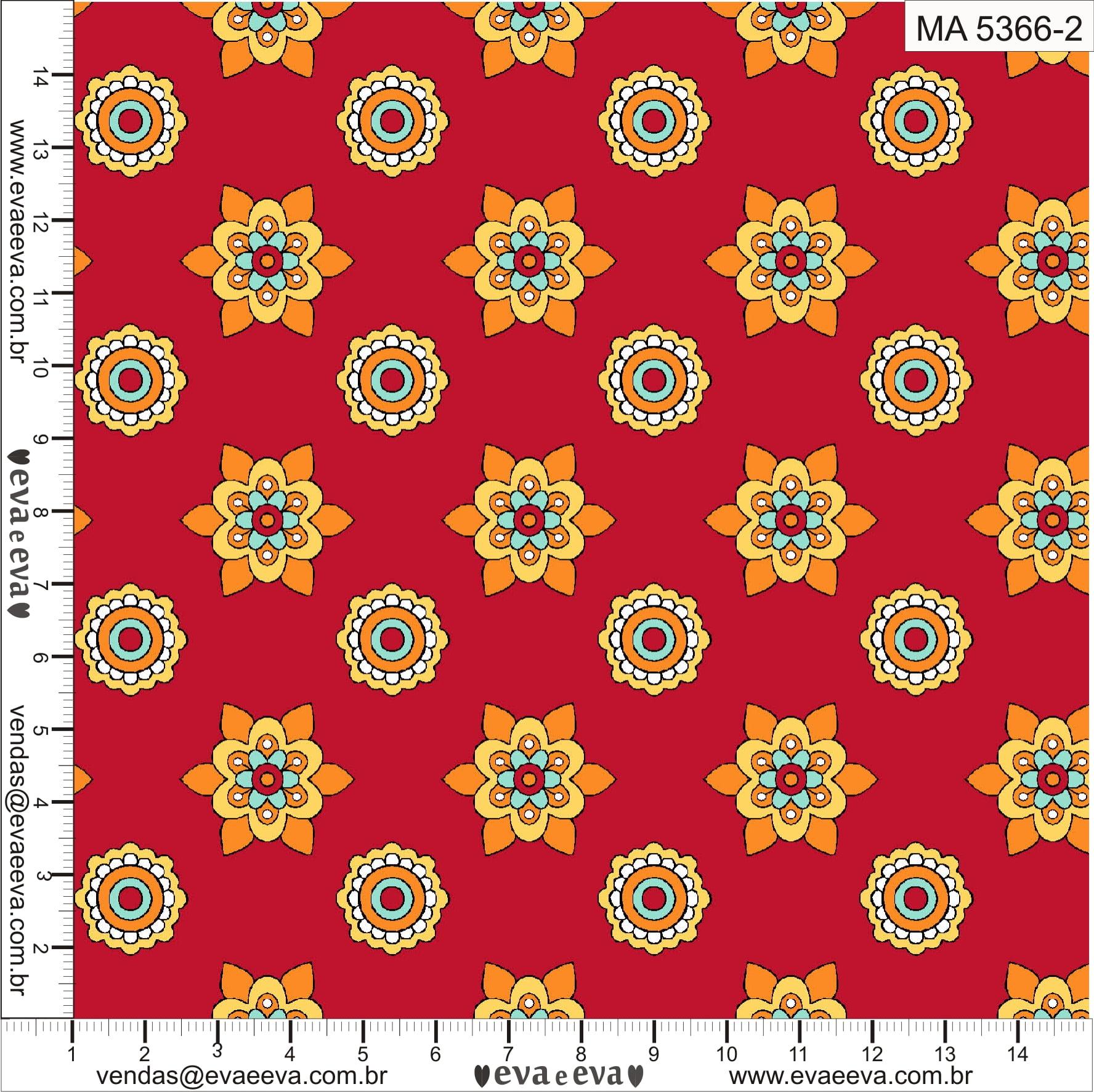 Tecido tricoline estampada da Eva e Eva - Coleção Mandalay  -  MA5366-2