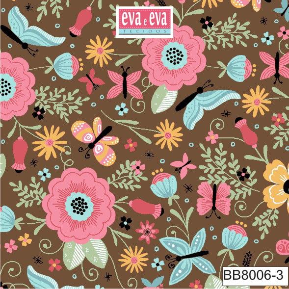 Tecido tricoline estampada da Eva e Eva - coleção Borboletando - BB8006-3