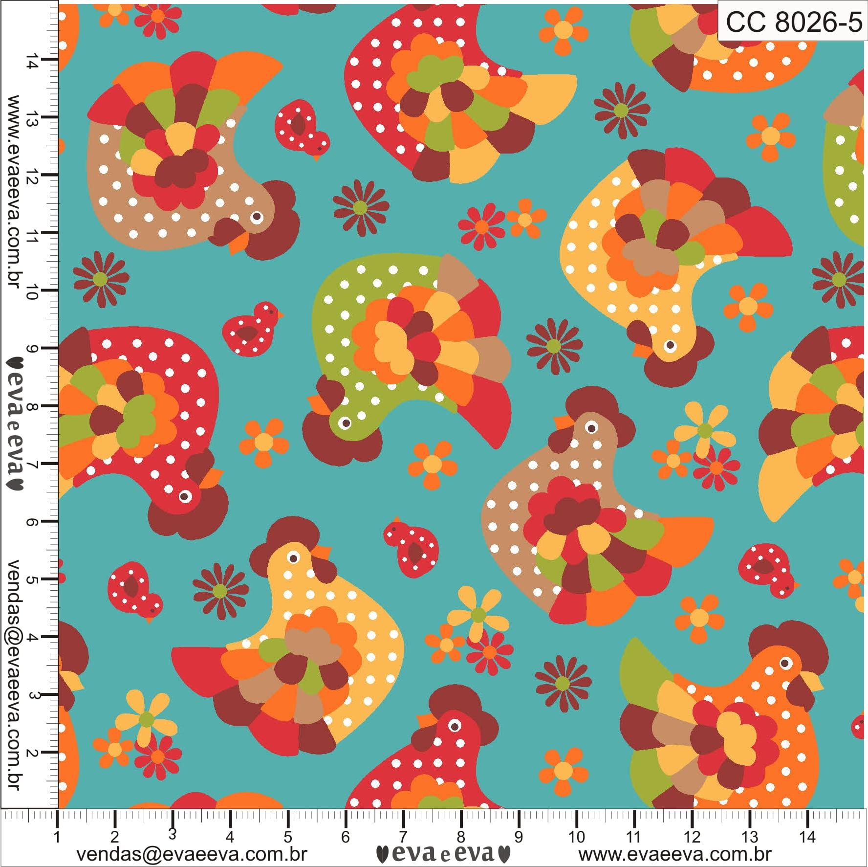 Tecido tricoline estampada da Eva e Eva - coleção Cocoricó - CC8026-5