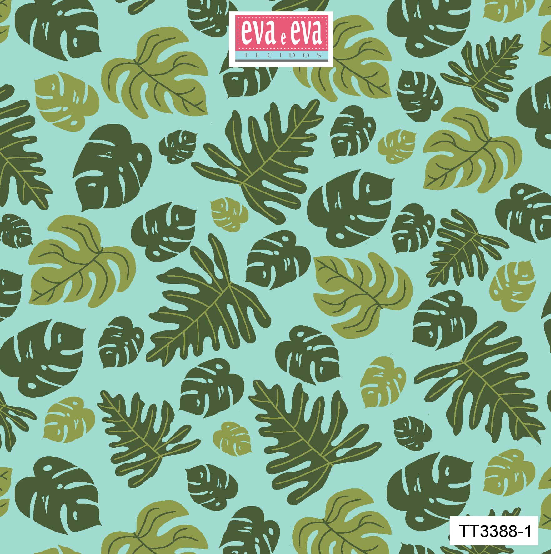 Tecido tricoline estampada da Eva e Eva - Coleção Tucano Tropical - TT3388-1
