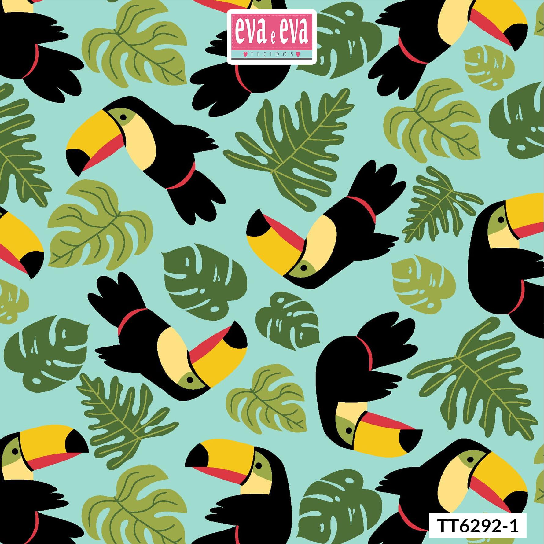 Tecido tricoline estampada da Eva e Eva - Coleção Tucano Tropical - TT6292-1