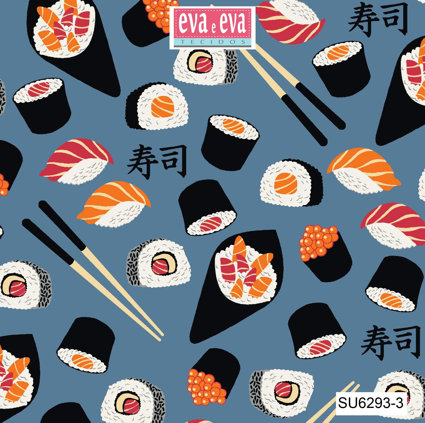Tecido tricoline estampada da Eva e Eva - coleção Sushi bar - SU6293-3