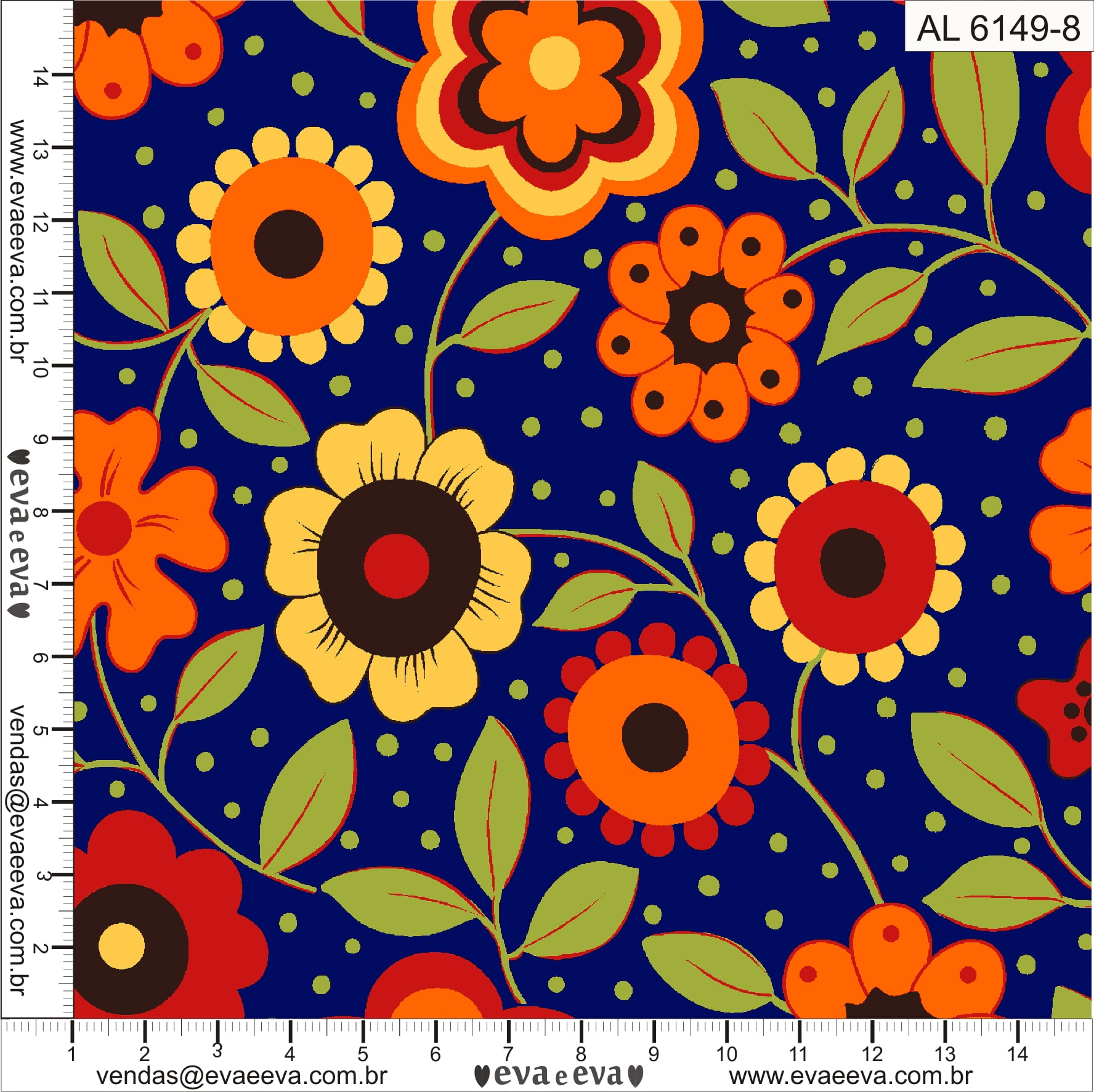 Tecido tricoline estampada da Eva e Eva - Coleção Alegria - AL6149-8