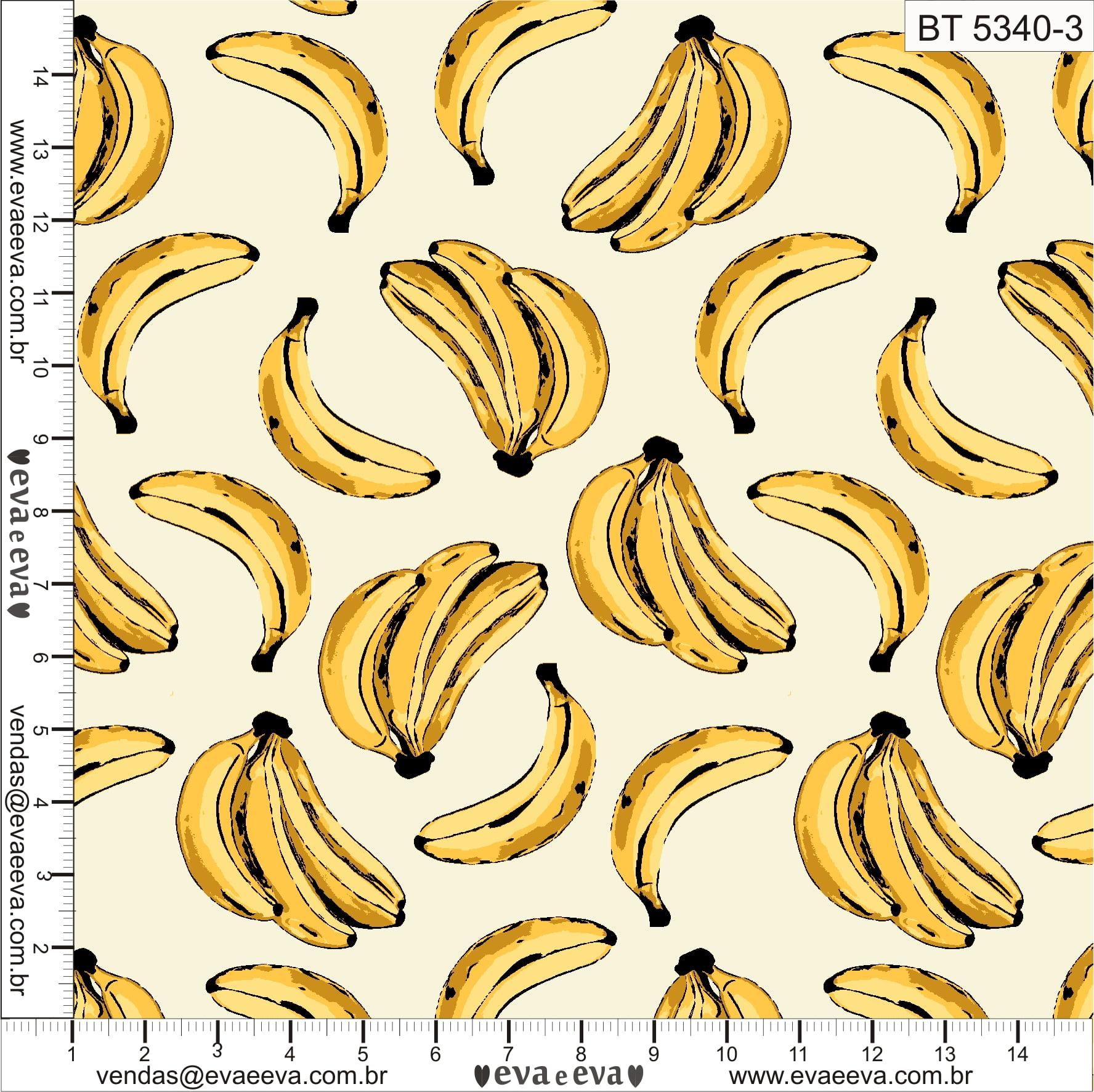 Tecido tricoline estampada da Eva e Eva - Coleção Banana Tropical - BT 5340-3