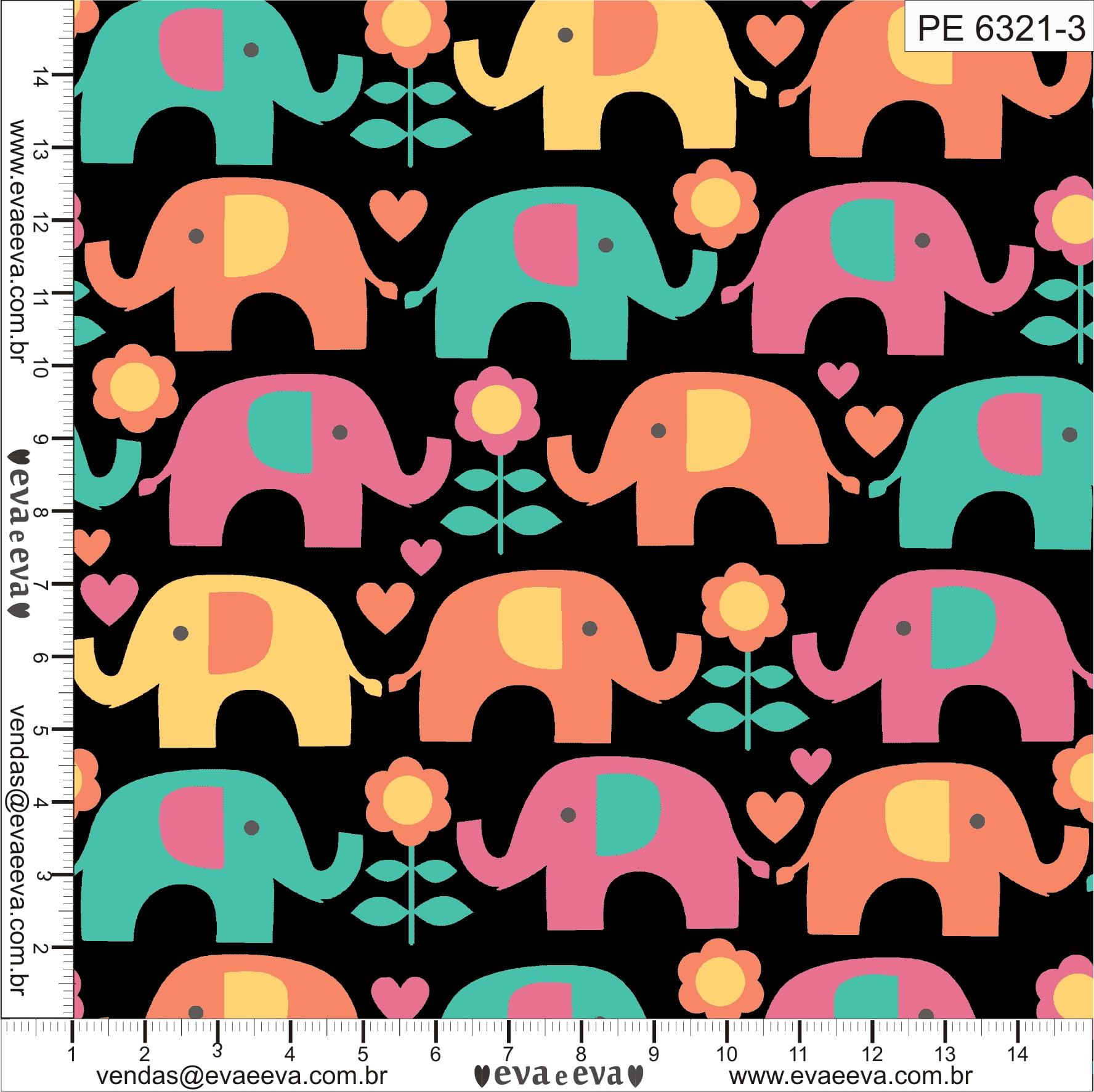 Tecido tricoline estampada da Eva e Eva - Coleção Passos do Elefantinho - PE6321-3