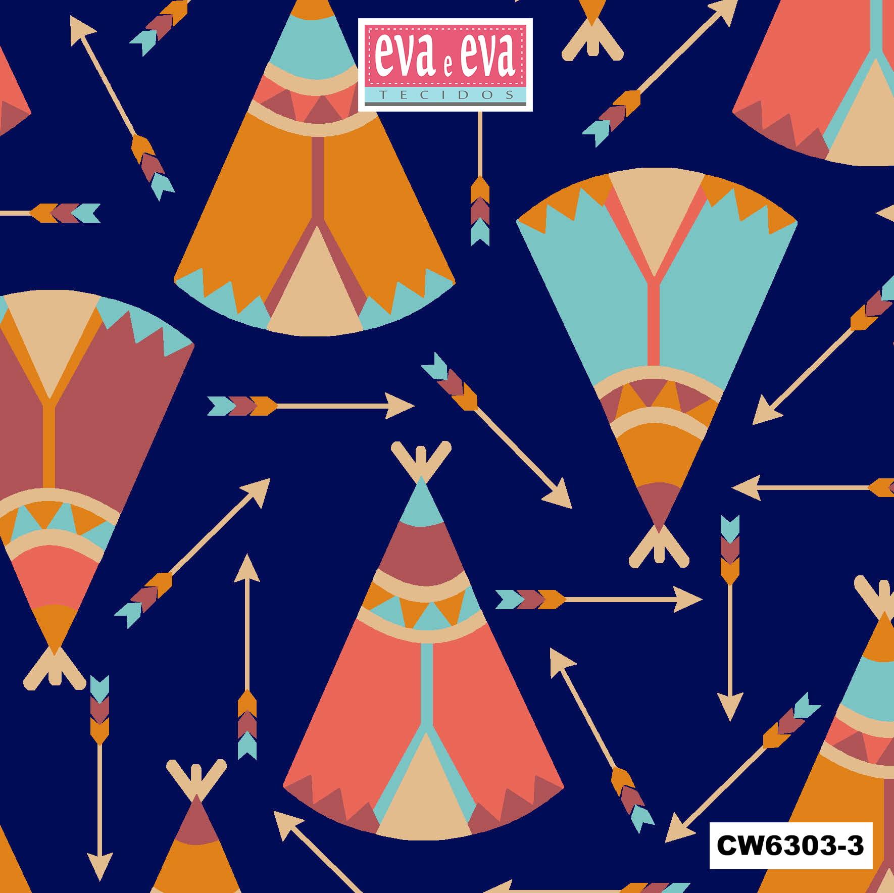 Tecido tricoline estampada da Eva e Eva -  Coleção Cowboys e Indios - CW6303-3