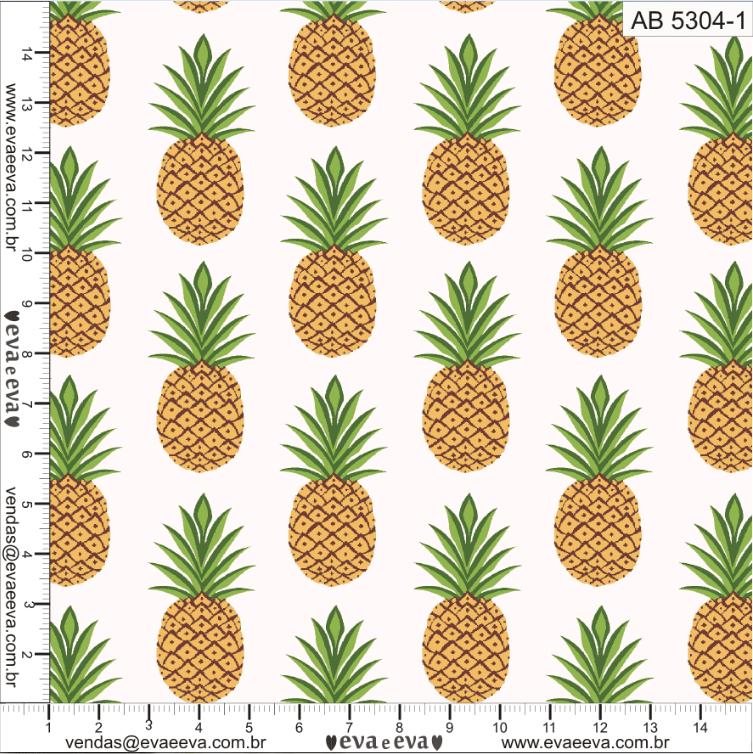 Tecido tricoline estampada de Fruta da Eva e Eva - coleção Abacaxi - AB5304-1