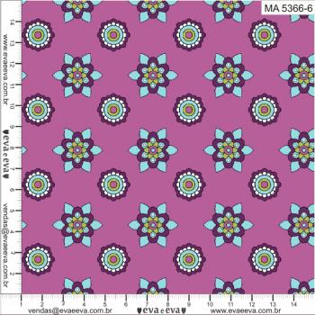 KIT-MANDALAY-3 - ROSA E VIOLETA - Tecido tricoline 100% algodão - 1 metro de cada estampa