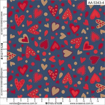 AA5343-4 - TRICOLINE  100% ALGODÃO  - COLEÇÃO AMOR AMOUR AMORE LOVE