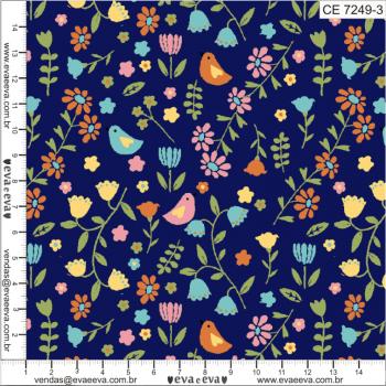 Tecido tricoline estampada da Eva e Eva - Coleção Coelhinho no Jardim - CE7249