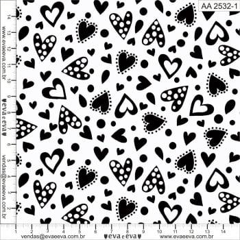 AA2532-1 - TRICOLINE 100% ALGODÃO - COLEÇÃO Amor Amour Amore Love