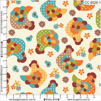 CC8026-1 - tecido tricoline estampado larg.1,50 - Coleção Cocoricó