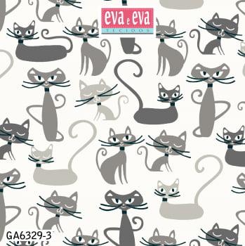 Tecido tricoline estampada da Eva e Eva - coleção Gato Maroto - GA6329-3