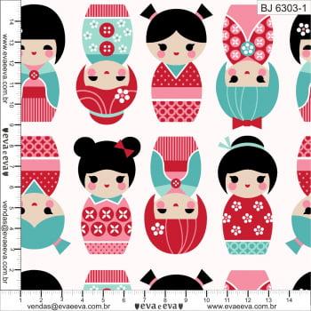 Tecido tricoline estampada da Eva e Eva - Coleção Bonequinha Japonesa - BJ6303-1
