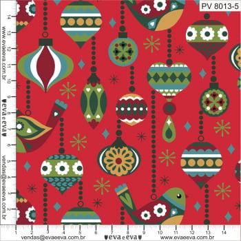 Tecido tricoline estampada de Natal da Eva e Eva - coleção Pássaros Vintage - PV8013-5